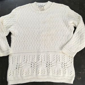 Vintage cream chunky textured  knit sweater M